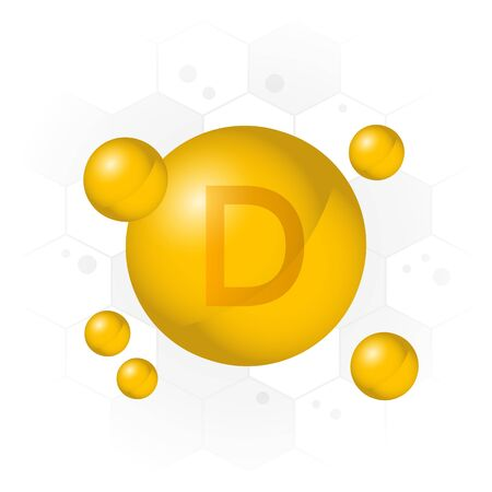 Vitamin D icon. Golden bubble on hexagon background. Vector illustration