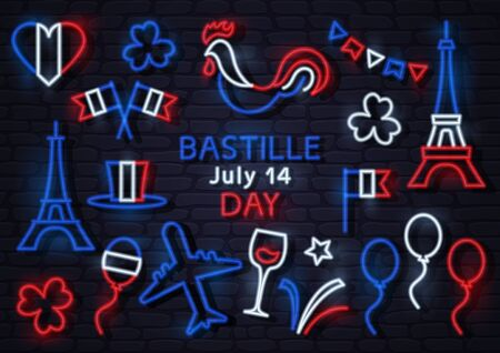 Bastille day July 14. France neon icons. Heart, flags, cock, Eiffel Tower, hat, balloon, airplane, clovers, glass of wine, stars, firework. Vector illustration