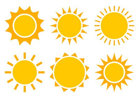 Sun icons, summer set. Yellow and orange colors, different shapes. Vector illustration Stock Illustratie