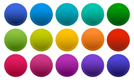 Colorful round buttons isolated on white background, rainbow colors. Vector illustration Ilustração