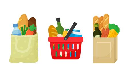 Grocery purchase set. Textile bag, shopping basket and paper package with products. Foods and drinks, vegetables and fruits. Vector illustration Ilustração