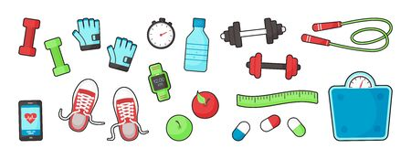 Fitness equipments Sport accessories Gym things Stufff for training isolated on white background. Top view. Diet and healthy lifestyle. Vector illustration Ilustração