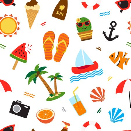 Summer seamless pattern, different seasons objects isolated on white background. Vector illustration Stock Illustratie