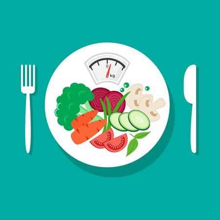 Balanced diet. Healthy nutrition. Fresh vegetables on white plate, fork and knife. Vector illustration Stock Illustratie