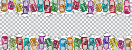 Trendy sports background with colorful sneakers, foot wear on transparent background. Top view. Space for your text. Vector illustration