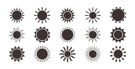 Sun icons, summer set. Black silhouettes, different shapes isolated on white background. Vector collection Stock Illustratie