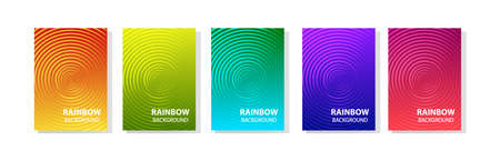 Rainbow set of abstract dynamic modern bright banners with different texture, template cover design. Space for your text with geometric circle patterns. Colored halftone gradient. Vector illustration
