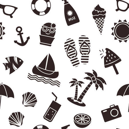 Summer seamless pattern, black different seasons objects isolated on white background. Vector illustration