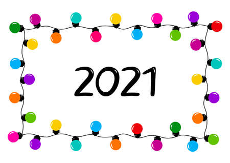 2021 New Year garland frame, holiday banner. Colorful cartoon Christmas decoration. Vector illustration
