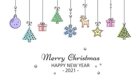 2021 New Year and Merry Christmas greeting card. Colorful Christmas toys hanging. Vector illustration