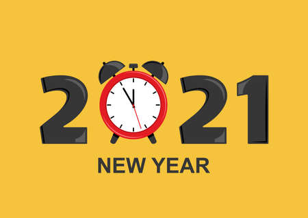 2021 New Year greeting card with alarm clock. Vector illustration Stock Illustratie