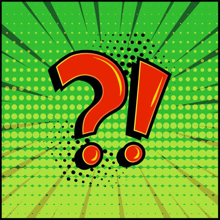 Comic question mark and exclamation point, red signs on green comic speech banner in pop art style. Vector illustration Stock Illustratie