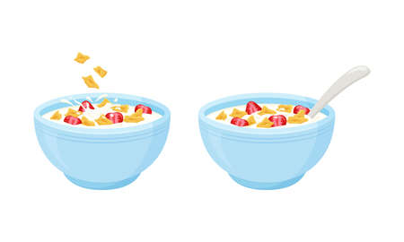 Cereal flake milk breakfast. Rolled oats bowl with strawberry. Oatmeal breakfast cup. Vector illustration