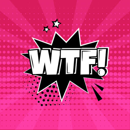WTF comic speech bubble on pink background. Comic sound effect, stars and halftone dots shadow in pop art style. Vector illustration Stock Illustratie