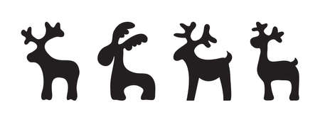 Christmas reindeer, animals holiday toys, black silhouettes isolated on white background. Vector illustration
