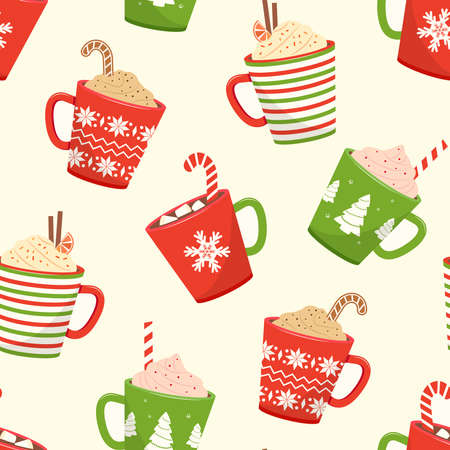 Christmas seamless pattern with cups hot cocoa, cartoon mugs with holiday drinks. Vector illustration Stock Illustratie