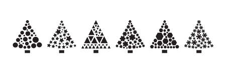 Christmas tree icons, stylized ornament, black silhouettes isolated on white background. Vector illustration