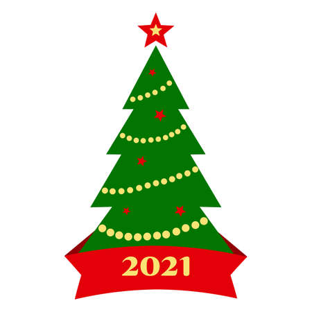 2021 Christmas tree icon with decoration and ribbon isolated on white background. Vector illustration Illustration