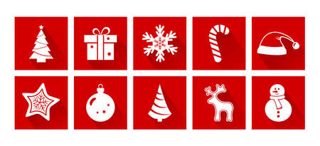 Christmas cartoon icons. New Year. Holiday decotarion set, red and white colors. Vector illustration