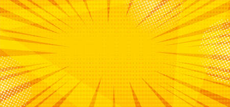 Yellow comic pop art abstract halftone background with sunbeams, space for your text. Vector illustration