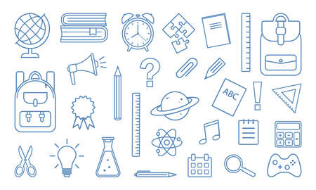 School supplies icons isolated on white background. Blue line design. Vector illustration