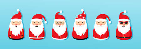 Christmas Santa Claus vector icons, cartoon character, red Santa hat, New year cute collection, holiday winter illustration on blue background Vectores
