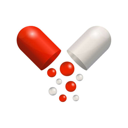 Capsule icon 3d realistic, red pill isolated on white background. Colored small balls falling of open medical capsule. Vector illustration