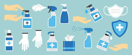 Hygiene hand spray, PPE icons, disinfect, mask, corona virus protection, antiseptic, sanitizer bottles, washing gel, antibacterial soap, gloves, napkins, personal protective equipment. Vector illustration Vectores