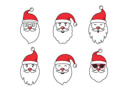 Christmas Santa Claus face vector icons, cute cartoon character, red Santa hat, New year collection, holiday winter illustration isolated on white background Vectores
