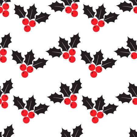 Holly berry Christmas seamless pattern, Christmas symbols isolated on white background. Red and black colors. Vector illustration