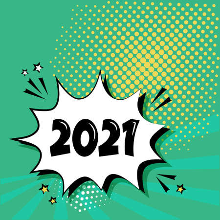 2021 New Year comic speech bubble on green background. Comic sound effect, stars and halftone dots shadow in pop art style. Vector illustration