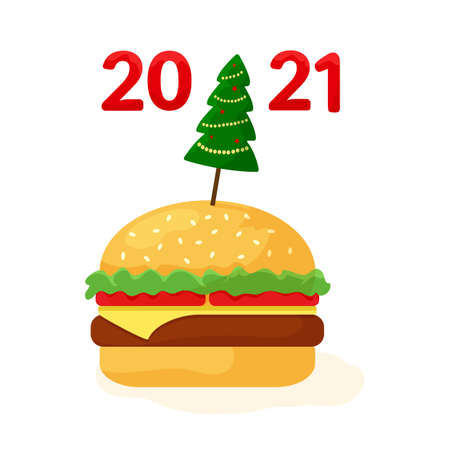 2021 fast food, cheeseburger with Christmas tree. Holiday banner for New Year. Vector illustration