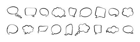 Comic speech bubbles isolated on white background. Line art hand drawn in pop art style. Vector illustration
