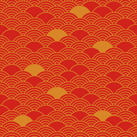 Chinese seamless pattern, oriental background, red and golden colors. Vector illustration Illustration