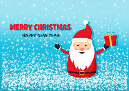 Merry Christmas Happy New Year. Santa Claus greeting vector card, cute cartoon character, Santa with red hat and gift box, holiday winter illustration Illustration