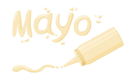 Mayonnaise font and drops. Sauce lettering and plastic bottle isolated on white background. Vector illustration Illustration
