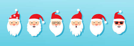 Christmas Santa Claus vector icons, cartoon head character, red Santa hat, New year cute collection, holiday winter illustration on blue background