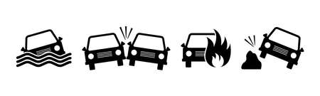 Set of car accident icons. Crashed cars sign. Black silhouettes isolated on white background. Vector illustration