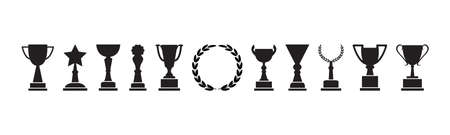 Trophy cup, award and laurel wreath, champion icons, black silhouettes isolated on white background. Vector illustration Illustration