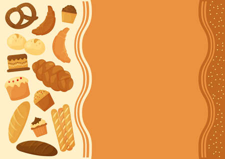 Cartoon bread, bakery pastry product. Banner space for your text. Vector illustration Illustration