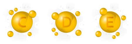 Vitamin C, D, E icon. Golden bubble on hexagon background. Vector illustration Illustration