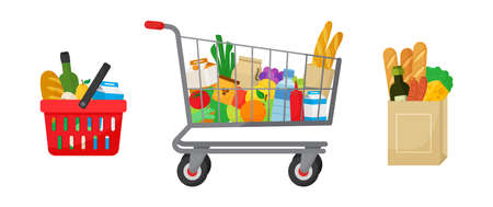 Grocery purchase set. Shopping basket and trolley, paper package with products. Foods and drinks, vegetables and fruits. Vector illustration