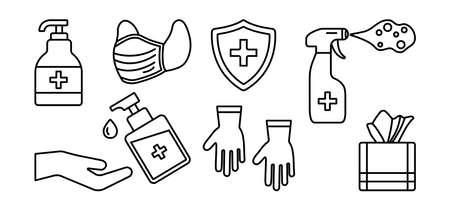 Hygiene line. Disinfectant, antiseptic, hand sanitizer bottles, medical mask, washing gel, spray, wipes, antibacterial soap, gloves, napkins. PPE personal protective equipment. Outline design. Vector illustration Illustration