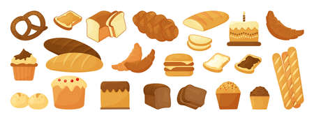 Cartoon bread, bakery pastry product isolated on white