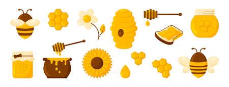 Honey icon set and flowers  on white