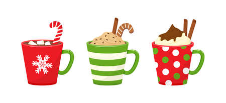 Winter Christmas cups with drinks. Holiday mugs with hot chocolate, cocoa or coffee, and cream. Candy cane, cinnamon sticks, marshmallows. Vector illustration Illustration