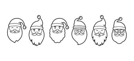 Christmas Santa Claus line face vector icons, cute cartoon character, Santa hat, New Year collection, holiday winter illustration