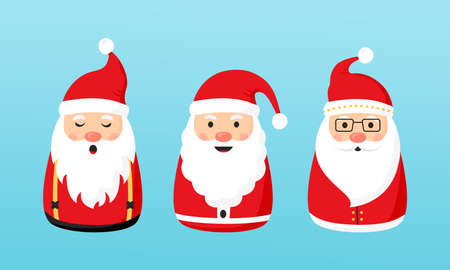 Christmas Santa Claus vector icons, cartoon character, red Santa hat, New year cute collection, holiday winter illustration on blue background Illustration