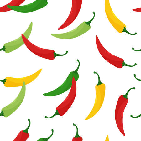 Seamless pattern with hot chili peppers, jalapeno vegetables, background with cayenne pepper red, green, yellow colors isolated on white background. Vector illustration