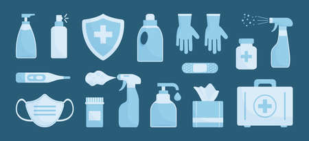 Medicine vector set. Disinfectant, hand sanitizer bottles, medical mask, antibacterial spray, gel, wipes, soap, gloves, first aid kit, pills, bandage, thermometer, medical insurance. Vector illustration